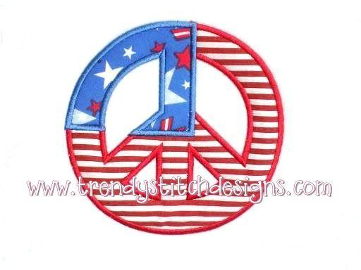 Peace Flag Applique Machine Embroidery Design