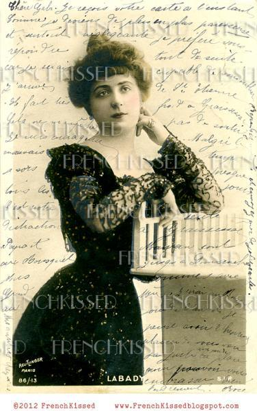 DIGITAL Scan Antique FRENCH postcard Victorian actress French script COLLAGE