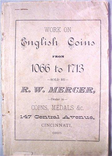 R W Mercer Book Work on English Coins 1066-1713, Vintage Coin Guide, Antique