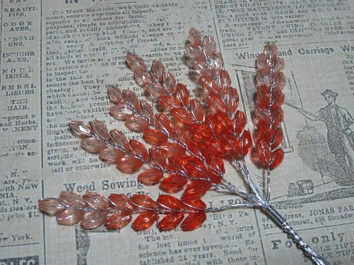 6 - Red 3-Tone Acrylic Wheat Leaves Spray