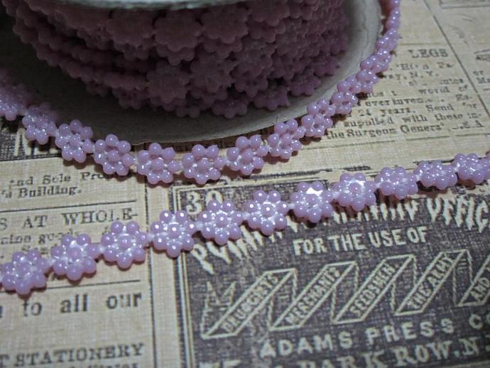 1yd - Mini Lavender Daisy Pearl Trim