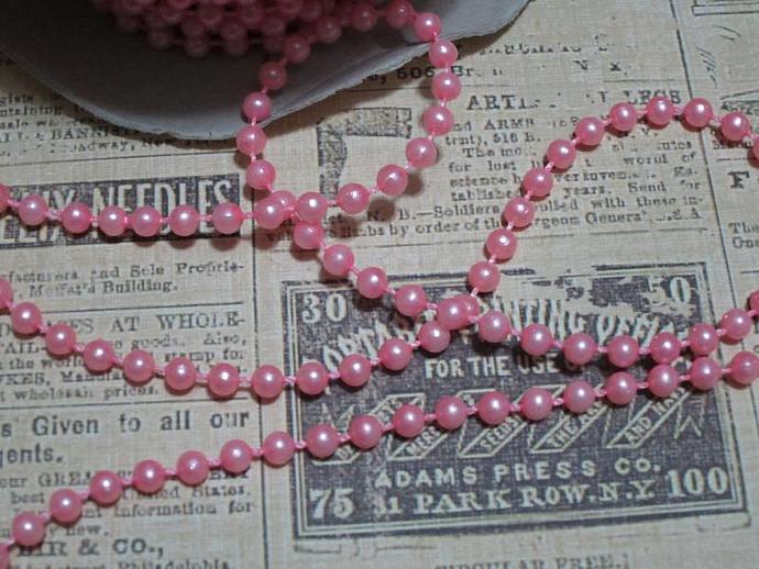 4yds - Lt Pink Pearl Trim (4mm)