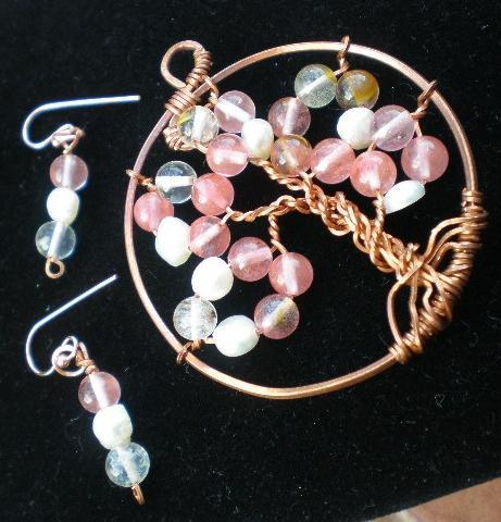 Cherry Blossom watermelon Tourmaline and Pearls Copper Tree of Life Jewelry Set