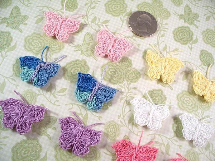 12 Small Crochet Butterflies 1""