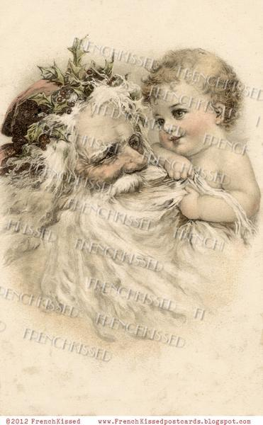 Vintage CHRISTMAS DIGITAL Scan Baby pulling SANTA Beard Antique French Postcard
