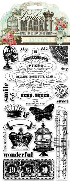 Pink Paislee London Market clear stamps Plus chipboard fram BONUS