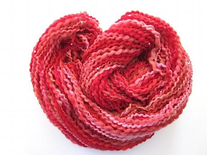 Designer Beaded Red Bouclé Handspun Wool Yarn
