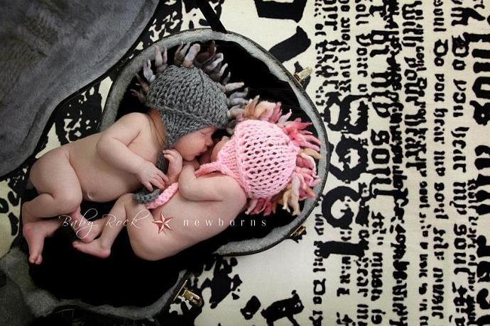 Twin Set Faux Hawk Hats - Slate Grey and Flirty Pink