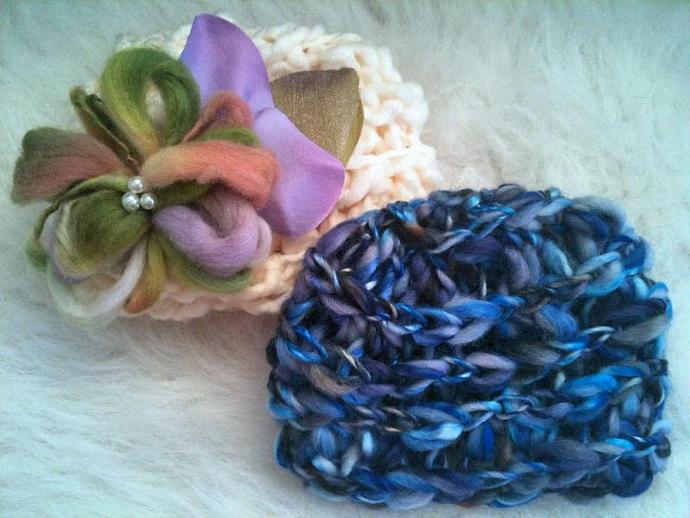 Sweet Pea Whimsical Bloom Hat and Royal Chain Link Pattern Beanie