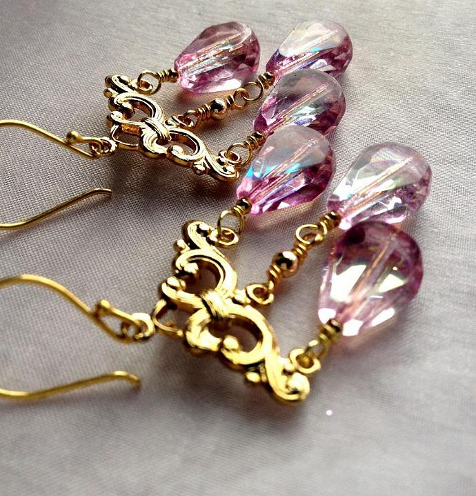 Pink Czech Glass Chandelier Earrings, faceted long drops, AB finish, vintage