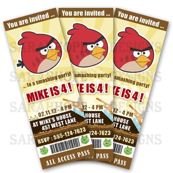 Angry Birds Digital Birthday Invitation Ticket Style - Printable - PDF or JPG