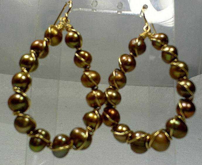 Bronze Pearl Earrings-Item # 0005