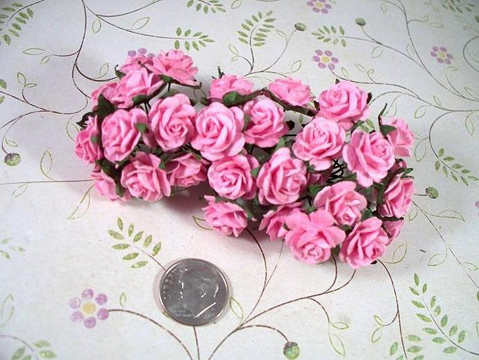 "50 Of 5/8"" Two Tone Pink/White Mulberry Paper Roses"