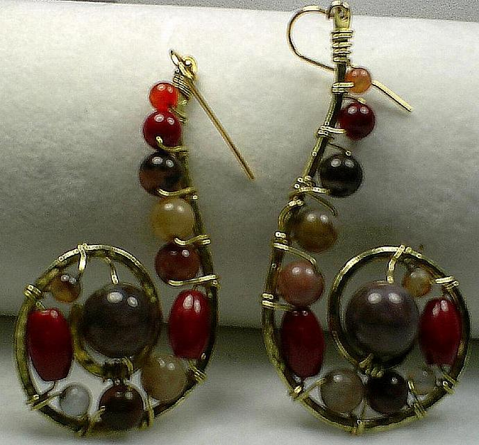 Spiral Gemstone Earrings-Item # 0029