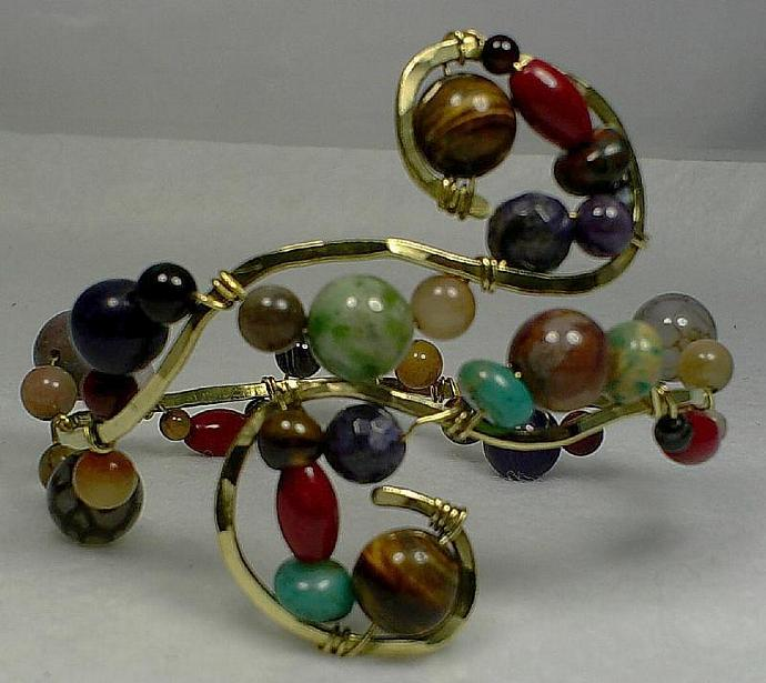Gemstone and Brass Bangle-Item # 0031