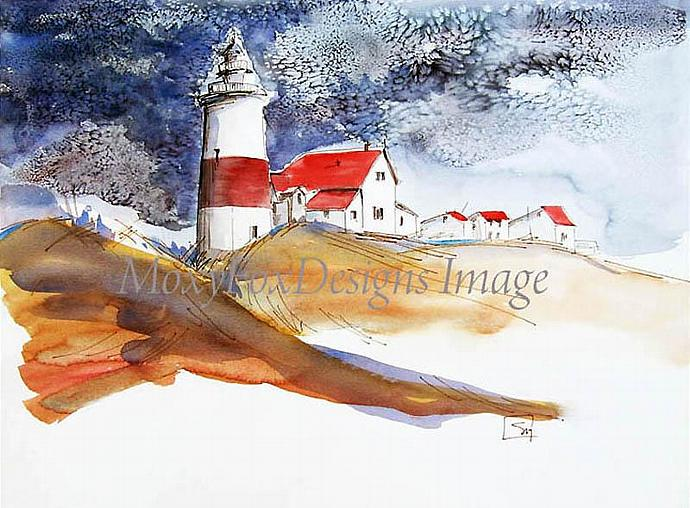 Art -- STORMY LIGHTHOUSE Fine Art Print Watercolor Pen and Ink Coastal Landscape