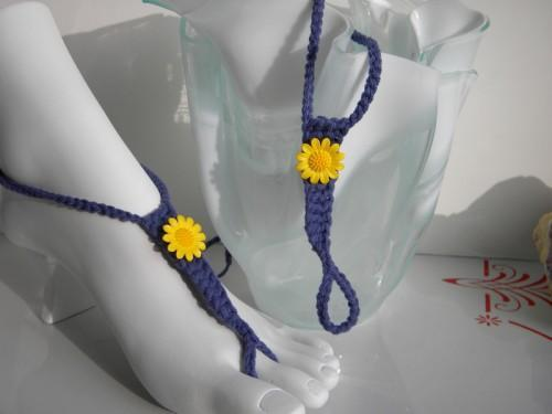 Sunflowers in Blue Toekinis - bright yellow flower foot jewelry