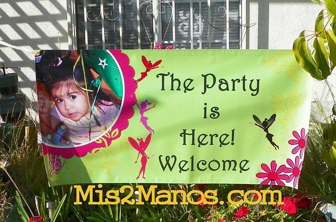 Birthday Banner 2'x4' Indoor/Outdoor: Fairy Party, Custom Design w/Name or Store