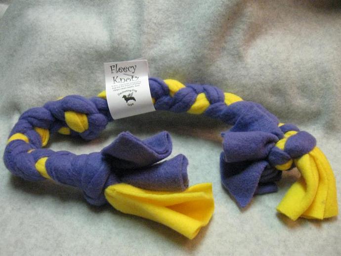 Purple and Yellow Large Fleecy Knotz Dog Toy