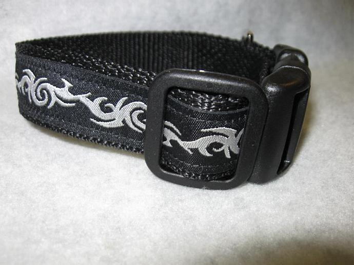 Silver Tribal on Black 1 Inch Designer  Collar