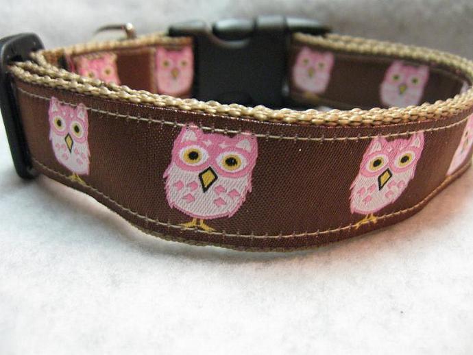 Mod Owls on Brown  1 Inch Designer  Collar