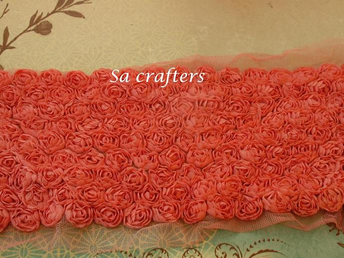 Red 9 rows scallop flower trims