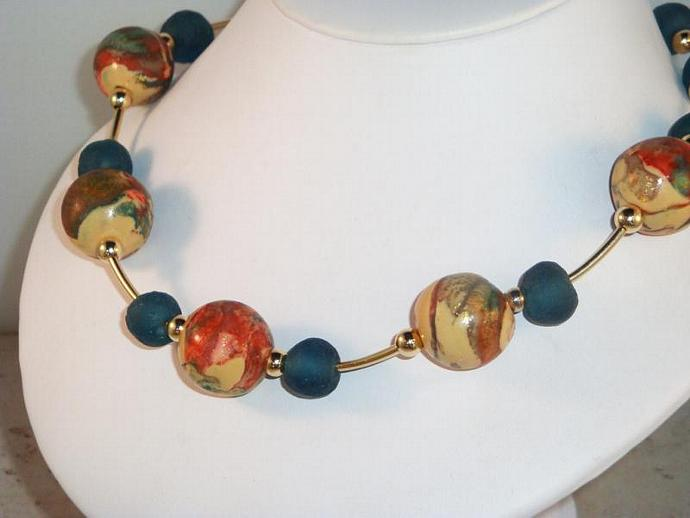 Multi Color Polymer Clay Necklace