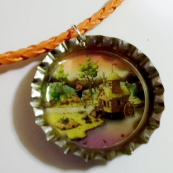 Pumpkin City Zebra Print Bottle Cap on Leather Necklace