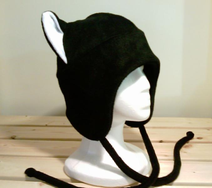 BLACK / WHITE KITTY CAT AVIATOR earflap fleece Hat