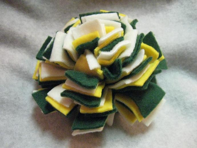 Large Gold, Green, and White Fl'tossums Fleece Ball Dog Toy