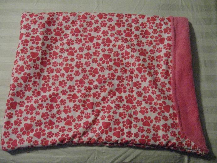 Hot Pink Paws Flannel to Plush Snuggle Sack Pet Bed