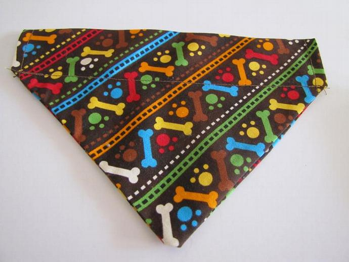 Small All Over Bones Paws  Slip Over the Collar Bandanna Scarf