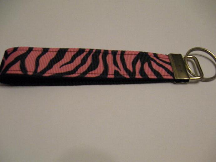 Pink Zebra Wristlet Keyfob