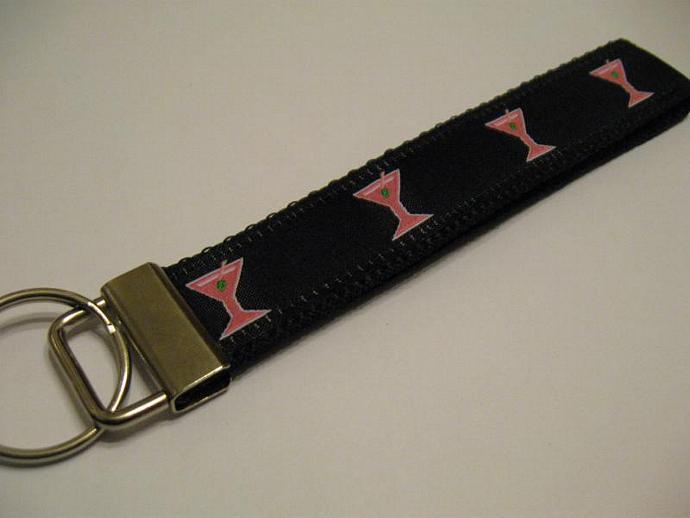 Pink and Black Martini Wristlet Keyfob