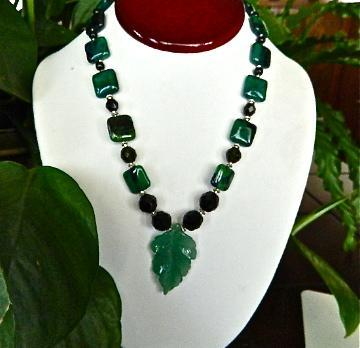 Aventurine  leaf  pendant  and  chrysocolla   necklace  earrings