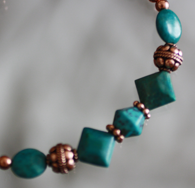 Beaded Copper and Turquoise Bracelet