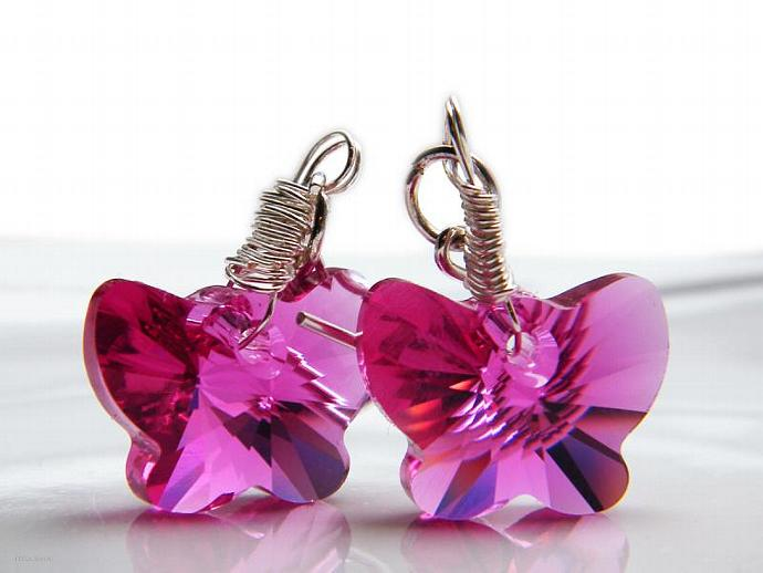 Pink Fuchsia Butterfly Earrings Swarovski Crystal Sterling Silver