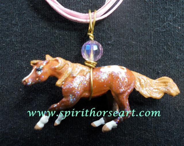Pinto Pony Cutting Horse Necklace, I Love Horses!