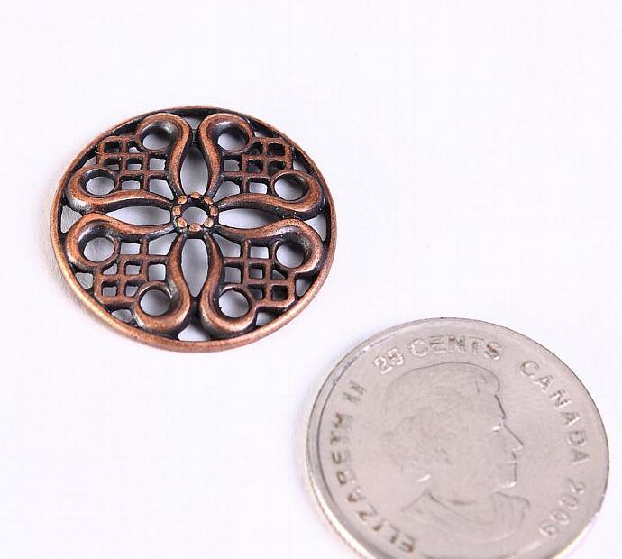 8 pc Tibetan filigree flower pendant bead antique copper links 24mm (488)