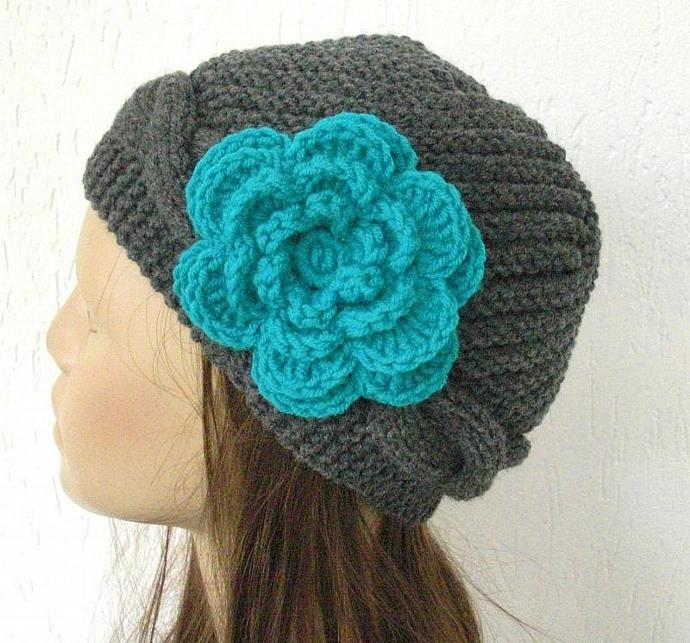 Hand Knit  hat-Cable knit hat-  Slouchy Beanie  in Charcoal Gray  with a