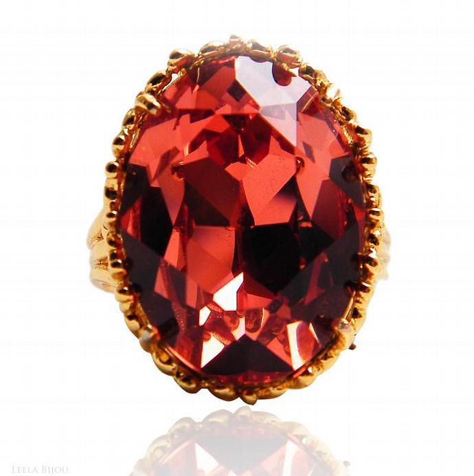 Fire Red Topaz Ring Swarovski Crystal Gold Plated Orange