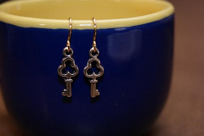 Alice's Key - Silver Gold - Teeny Tiny Charm Earring