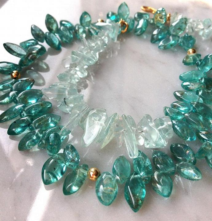 Aquamarine and Apatite Necklace, 14k goldfill beads, 24k gold vermeil S-clasp.