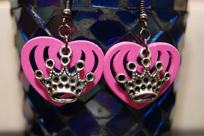 Princess Crown - Wood Heart Charm - Silver Pink
