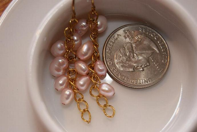 Pink Cluster - Freshwater Pearl Earrings