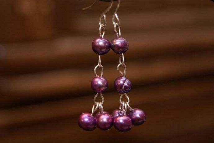 Drops of Purple - Freshwater Pearl Earrings