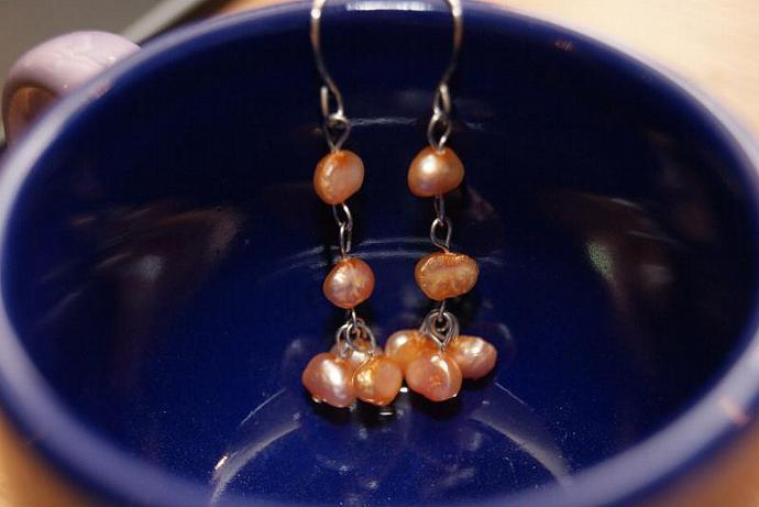 Drops of Peach - Freshwater Pearl Earrings