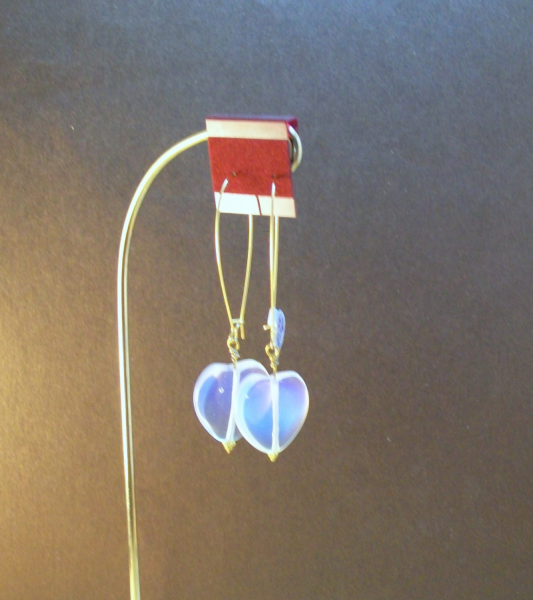 Long Gold Ear Wires with Moonstone Hearts