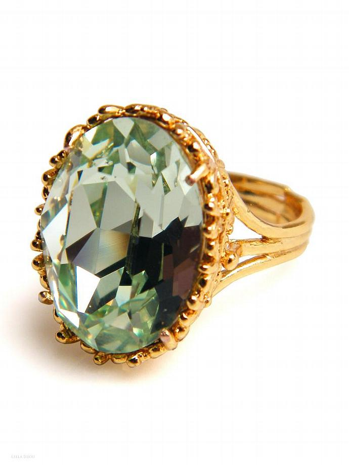Light Green Peridot Ring Swarovski Crystal Gold Plated