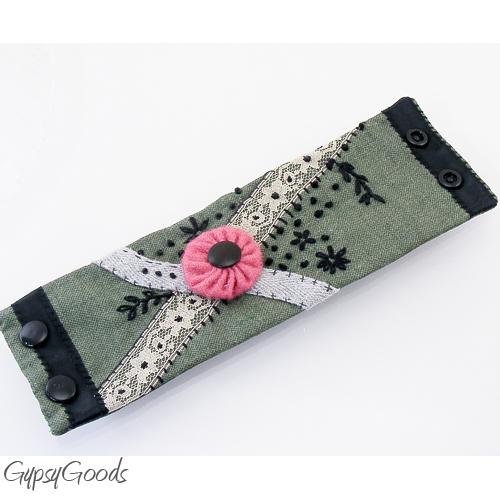 Army Green Embrodered Wrist CUFF